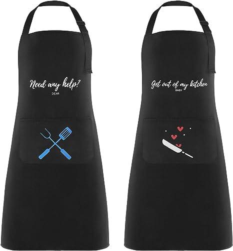 2 Piezas Delantales de Cocina Delantal Cocina Mujer Delantales Impermeables para Cocina Ajustables para Mujeres Hombr...