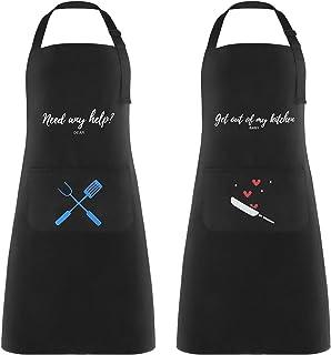 2 Piezas Delantales de Cocina Delantal Cocina Mujer Delantales Impermeables para Cocina Ajustables para Mujeres Hombres,De...