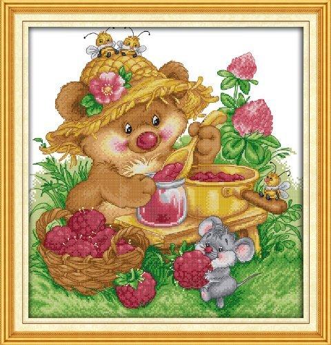 Happy Forever Cross Stitch, cartoon, squirrel made jam