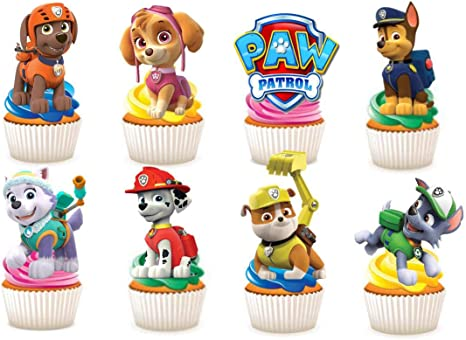 30 X Paw Patrol Paper Party Stand Up Edible Cup Cake Topper Decorations Amazon De Home Kitchen