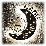 LED Nachtlicht Bär auf Mond mit Name personalisiert I Besondere Taufgeschenke Geschenke zur Geburt und Taufe für Mädchen Junge Jungs