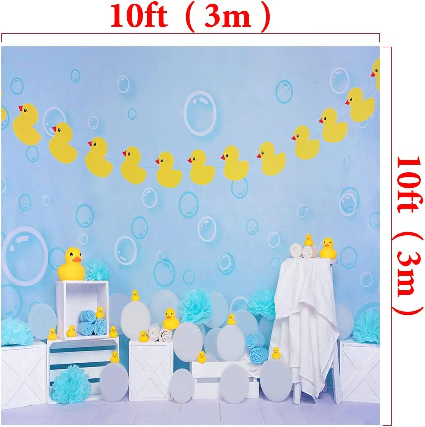 Kate 8x8ft Microfiber Yellow Rubber Duck Backdrop for Photography Blue Decoration Background Newborn Baby Shower Bubble Photo Props Backdrop