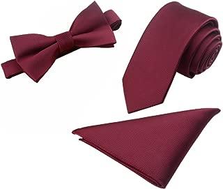 Mens Skinny 2.4'' Neck Tie Bow Tie Pocket Square Handkerchief 3pcs Set (Burgundy)