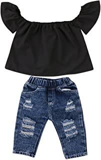 Toddler Girls Clothes Kids Baby Off Shoulder Tops Fall Ruffle Sleeve Shirt+Ripped Jeans Long Pants Denim Outfit
