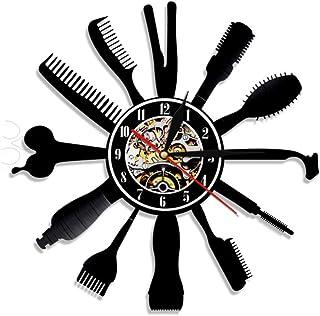 Relógio de parede barbeiro, equipamento de barbeiro, relógio de vinil, ferramenta de curativos de cabelo, arte de parede, ...