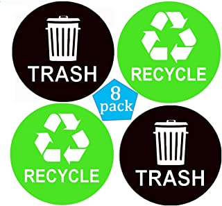 Pop Resin 8 Pack Recycle Sticker Sign Trash Decal Bin Label - 4