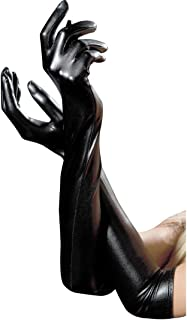 Affe Women's Black Sexy Long Gloves Sexy Wet Look Adult Sexy Latex Long Gloves