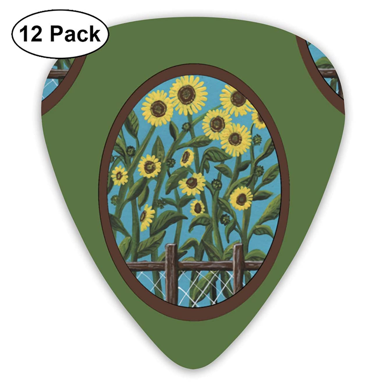 Sunflower Ovals Green Bendy Ultra Thin 0.46 Med 0.73 Thick 0.96mm 4 Pieces Each Base Prime Plastic Jazz Mandolin Bass Ukelele Guitar Pick Plectrum Display