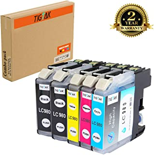 Tigtak 5 Pack Replacement for LC61 (LC980) Ink Cartridge Compatible for Brother Mfc-250c, Mfc-255cw, Mfc-290c, Mfc-295cn, Mfc-490cw, Mfc-495cw, Mfc-5490c Printer [2 Black, 1 Cyan, 1 Magenta, 1 Yellow]