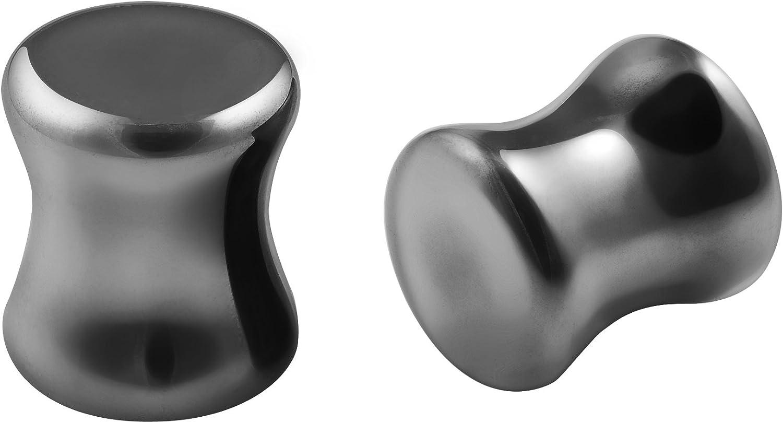 2pc Hematite Stone Ear Plugs Gauges Double Flared Earring for Women Men Piercing Jewelry