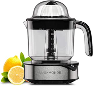 Electric Citrus Juicer 1.2 L Large Volume Pulp Control Stainless Steel Fruit Squeezer with Two Cones