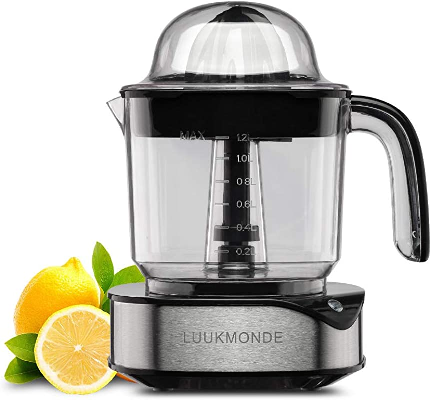 Electric Citrus Juicer 1 2 L Large Volume Pulp Control Stainless Steel Orange Squeezer With Two Cones Powerful Motor Lemon Juicer Electric For Grapefruit Orange Lemon By LUUKMONDE