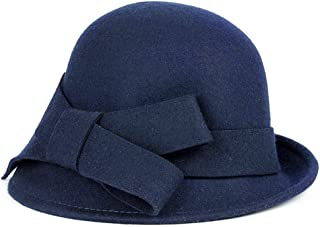 Bellady Women Solid Color Winter Hat 100% Wool Cloche Bucket with Bow Accent