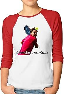 CUPP Women's Stan Wawrinka US Open Women Raglan Sleeve Baseball Tshirts