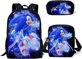 Vercico Sonic Kinderrucksack, Federmäppchen, Schultertasche, 3er-Set, Sonic-Federmäppchen für Kinder, Mädchen, Laptop, Ruc...