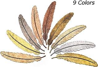 Marcadores de Plumas Metal,Paquete de 9 Marcadores de orma de Pluma Marcapáginas de Metalde la Novedad Marcadores de Libros Plumas Creativos para Estudiantes Maestros Mujeres Niños Niños y adultos