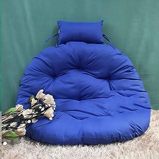 Chair cushion Cojines de Silla Colgante, sin Soporte Nido Grueso Multi Color Cojín de Asiento Giratorio Redondo extraíble y Lavable con Almohada-Azul Diámetro 105cm