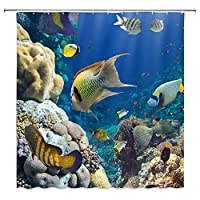 熱帯の海色の海底風光明媚な魚浴室の窓の装飾のための生地のホックが付いているポリエステル防水シャワー・カーテン60X72in
