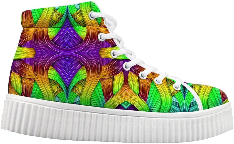 Classic colorful Print Women Casual Tennis shoes Platform Sneakers US 5