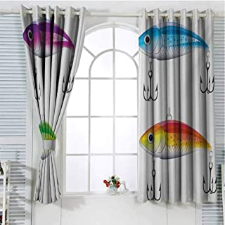 Gloria Johnson Fishingcurtains for bedroomGrommet Window CurtainCollection of Fishing Lures in Trout Shape Trap for Sea Mammals Creatures Picturedrapes panelsMulticolor72 x 72 inch