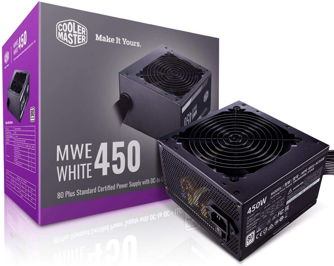 Cooler Master MWE White 450 80+ White 450W PSU with HDB Silent 120mm Fan, Single +12V Rail, Flat Black Cables