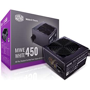Cooler Master MWE 450 White 450W 80+ White PSU w/Hydro-Dynamic-Bearing Silent 120mm Fan, Single +12V Rail, Flat Black Cables (MPE-4501-ACAAW-US)