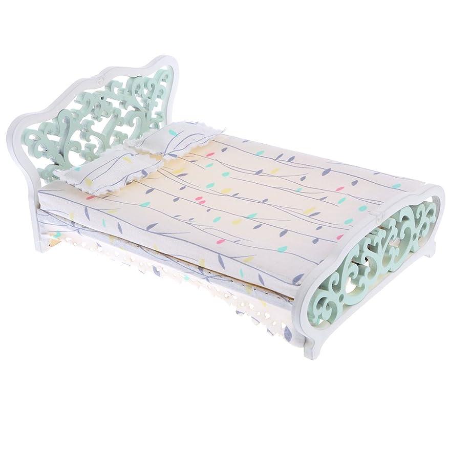 水平かける毎月3カラー選択 家具セット ミニチュア 1/12スケールドールハウス飾り 模型 ダブルベッド ベッド 木製  - ミントグリーン