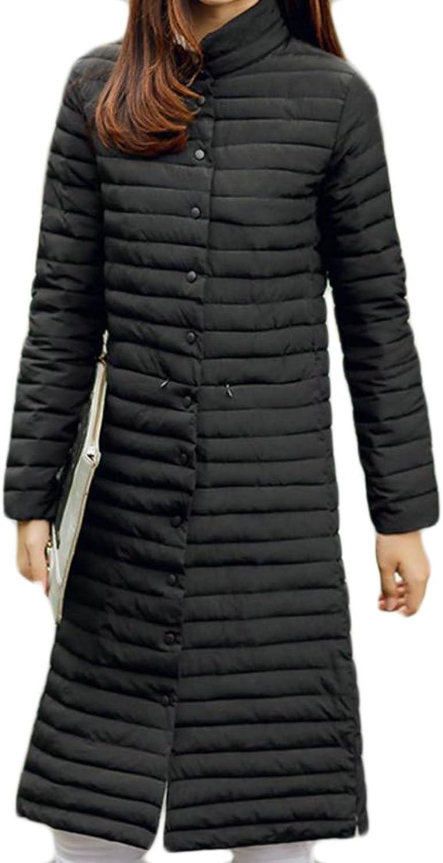 Cromoncent Womens Slim Light Packable Button Down Parkas Down Coat Outwear