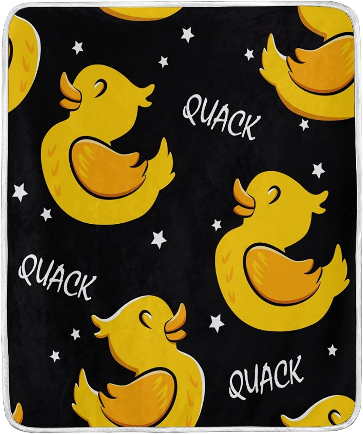 ALAZA Home Decor Hipster Cartoon Duck Star Black Blanket Soft Warm Blankets for Bed Couch Sofa Lightweight Travelling Camping 60 x 50 inch Throw Size for Kids Boys Women
