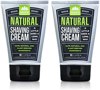 Pacific Shaving Company Natural Shaving Cream - Safe, Natural, and Plant-Derived Ingredients for a Smooth Shave, Softer Skin, Less Irritation, Cruelty Free, 3.4 oz (2 Pack)