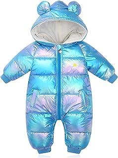 طفل الفتيات الفتيان زائد المخملية لامعة الشتاء السروال القصير طفل مقنعين ماء snowsuit umpsuits (Color : Blue, Size : 9M)