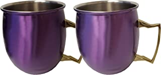 Denmark Stainless Steel 19 Ounce Electroplated Colored Moscow Mule with Gold Handle, Set of 2 Purple Moscow Mule Mugs