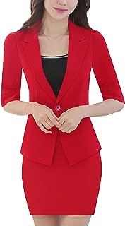 MFrannie Womens 3-Piece Half Sleeve Office Suit Set of Blazer Skirt Camisole