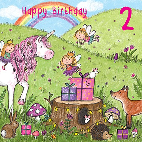twizler 2nd Birthday für Mädchen mit Magical Einhorn, Feen, Regenbogen, und Glitzer–Zwei Jahre–Alter 2–Kinder Geburtstag–Mädchen Geburtstag Karte
