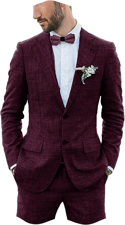 Furuyal Linen Suit for Men Slim Fit Casual Wedding Suit Prom Suits 2 Pieces Jacket Blazer Groom Tuxedo