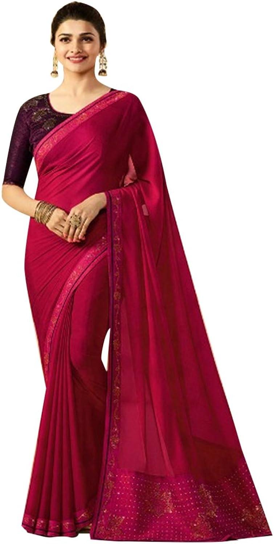 Bollywood Collection Of Saree Swarosvki Work Sari Blouse Formal Casual Designer Women muslim Indian Eid 2815
