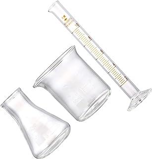 50 مللي كوب زجاجي 10 مللي تخرج اسطوانة تخرج ضيق الفم دورق إرلنماير كوب قياس معدات المختبرات 3 قطعة