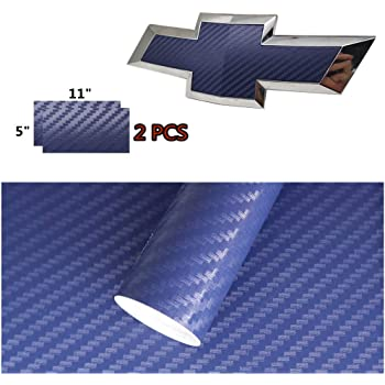 Changeable Color Blue to Purple 2 pcs Carbon Fiber Chevy Bowtie Emblem Overlay Sheets Front//Back Vinyl Decal Wrap