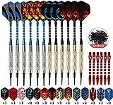 GUBOOM Dardos con punta de plástico, juego de 12 dardos blandos profesionales para diana electrónica 18g / pieza y 100 puntas extra + 42 vuelos + 6 cañas de aluminio