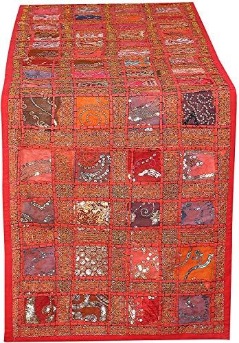 Alfombra Roja Bordada a Mano de la Mesa de Algodon - Patchwork Cocina Habitacion Mantel Individual Decorativa para la Mesa de Comedor Fiesta de Recepcion de la Boda India - 40 X 183 cm