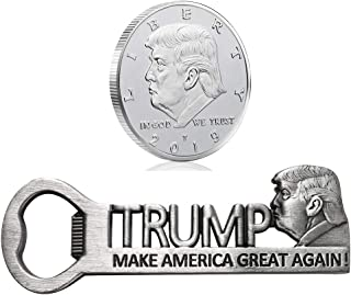Donald Trump Gifts 2019, MAGA Collectibles, Silver Plated Commemorative Coin 2019 and Trump Make America Great Again Magnetic Bottle Opener