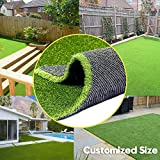 0.8inch Realistic Synthetic Artificial Grass Turf 4FTX7FT(28 Square FT),Thick Faux Grass Indoor Outdoor Landscape Lawn Pet Dog Turf Carpet for Garden Backyard Balcony