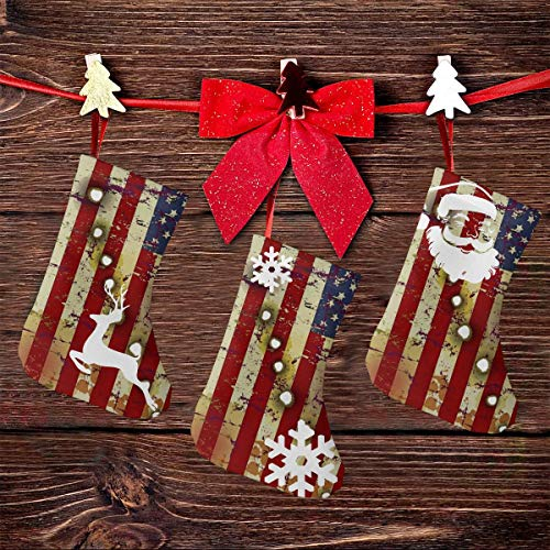 NHJMH Patriotic American Flag Bullet Holes Christmas Stocking 3 Pcs Set, 7.5'' Santa Socks, Sock Sack Gift Bag Christmas Tree Fireplace Ornaments Christmas Reindeer Party Decorations Kids Gifts
