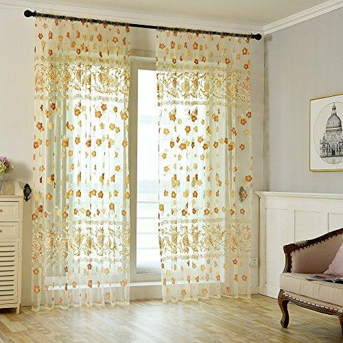 Deloito Voile Dekoschal Gardine Organza Vorhang Kräuselband Klassisch Transparent Gardinen Vorhänge mit Blättern für Wohnzimmer (Gelb,200 * 100cm)