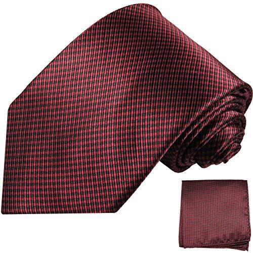 Paul Malone Krawatten Set 100% Seide rot schwarz Seidenkrawatte + Einstecktuch