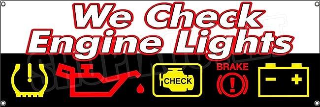 WE CHECK ENGINE LIGHTS Banner Vinyl Sign Repair Automotive Mechanic Sensors (36