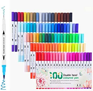 Dual Tip Brush Pens with Fine-Liner Tip 0.4, Dual Tip Marker Pens Water Based Ink for DIY Coloring Book, Sketching, Painti...