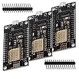 AZDelivery 3 x NodeMCU Lolin V3 Module ESP8266 ESP-12F WIFI Development Board unverlötet kompatibel mit Arduino inklusive E-Book!