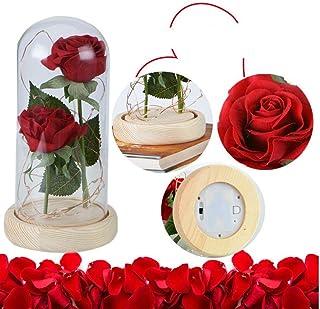 47aae686655 Gamloious Regalo Flor Rosa Flor Eterna Luz de San Valentín con Base de  Madera para el