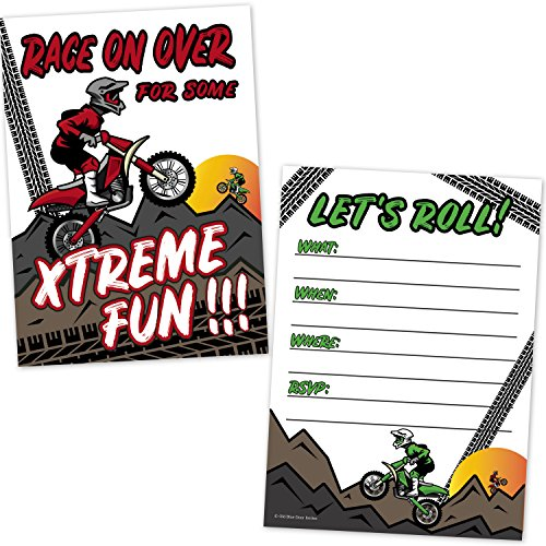 Motocross Dirt Bike Racing Party Birthday Party Invitations for Kids (20 Count with Envelopes) - Motorbike Birthday Invites for Boys